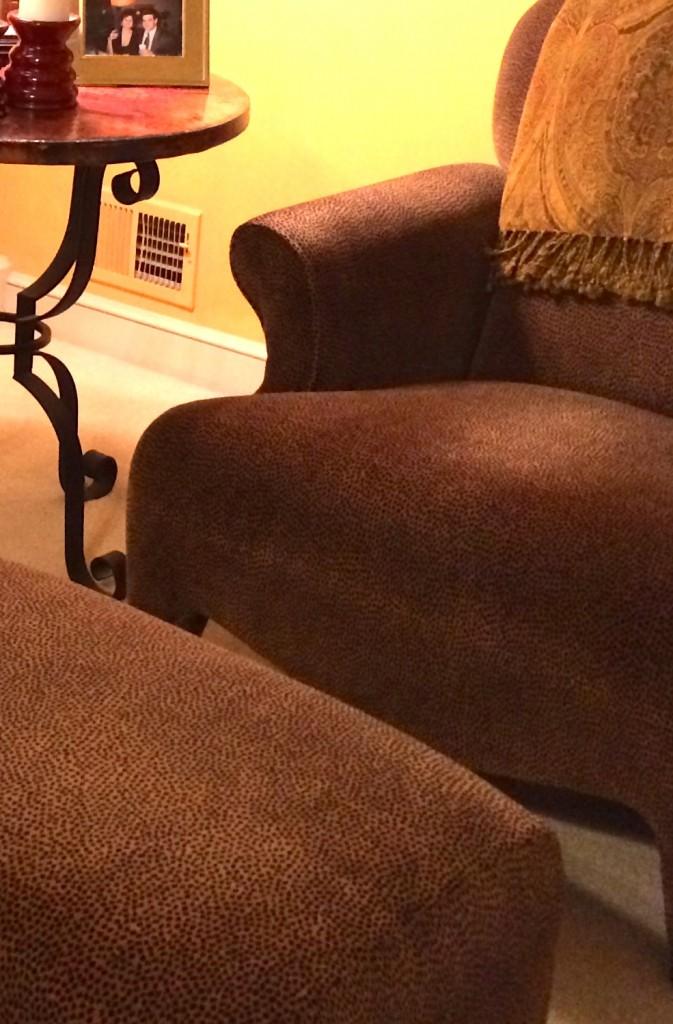 animal print chair and ottoman