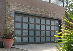 contemporary glass and wood garage door