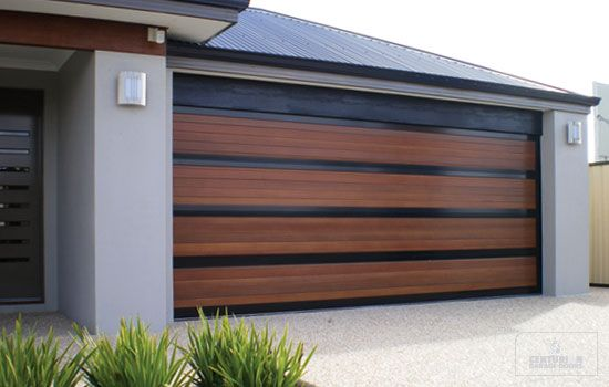 Wide Slat Wood And Glass Garage Door