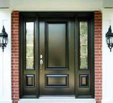 Solid Front door with narrow side lights