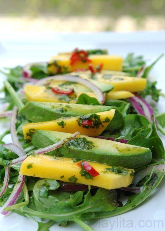 avocado, mango & arugula salad
