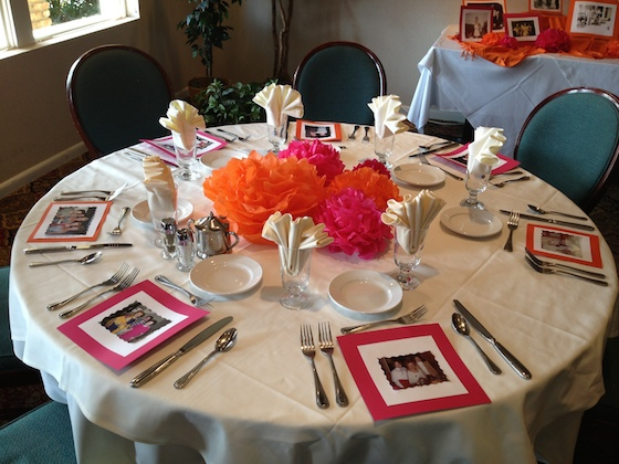 Add family pictures to each place setting for a festive touch.