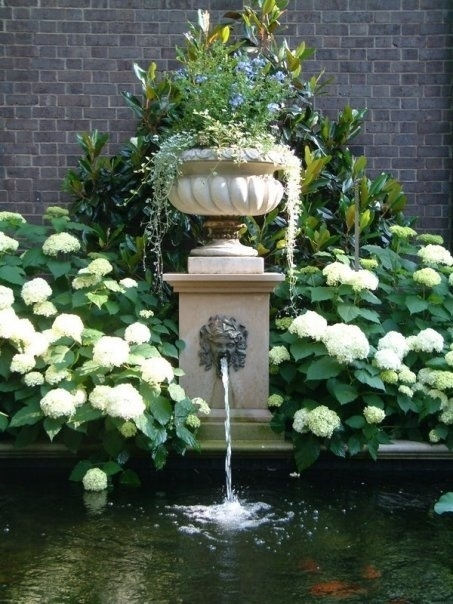 fountain flanked by hydrangeas