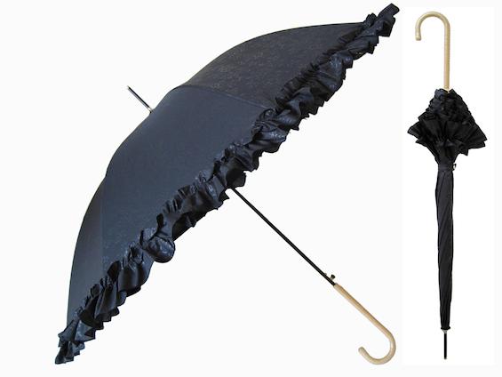 black ruffled umbrella