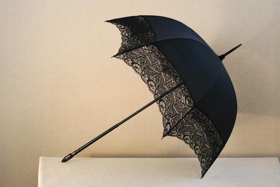 black silk and lace umbrella
