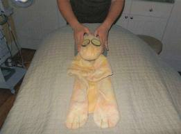Joshie the giraffe getting a massage at the Ritz Carlton Spa