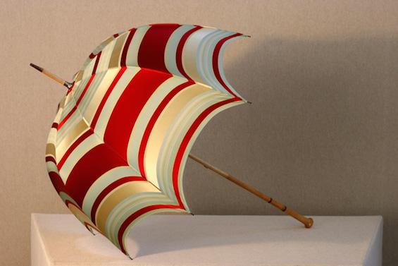 red stripe silk umbrella