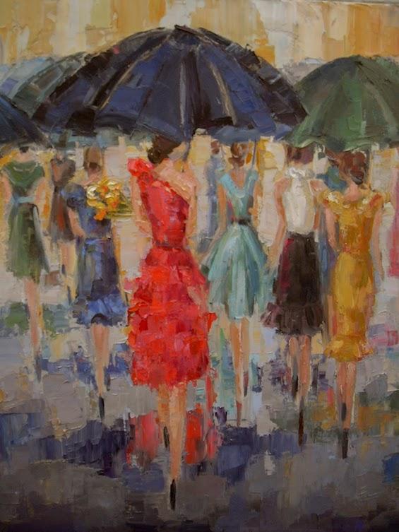 Painting of Ladies in Dresses under umbrellas