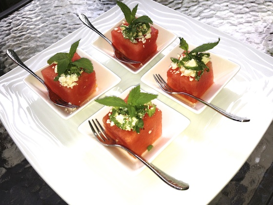Individual Watermelon Appetizers