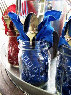 Mason Jars with Bandana Napkins & Silverware