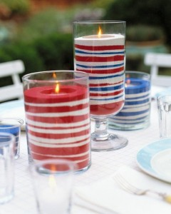 Red White & Blue Sand Candles