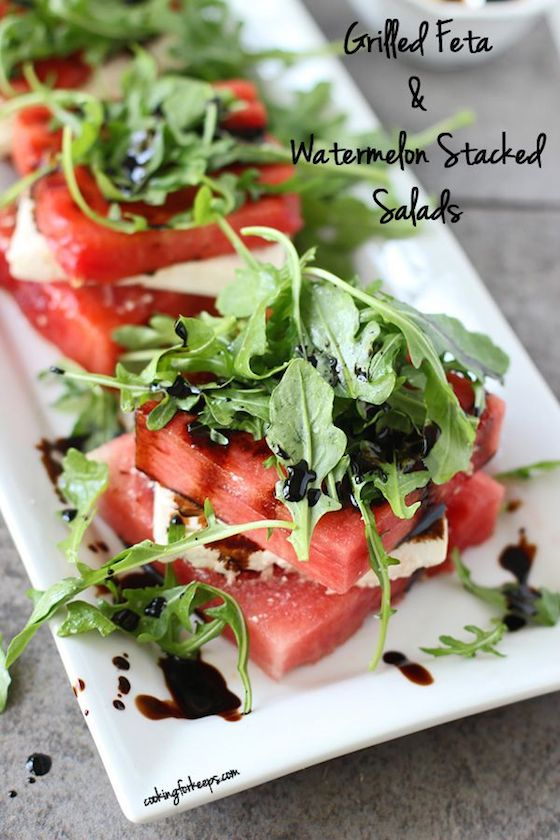 grilled watermelon stacked salad with feta