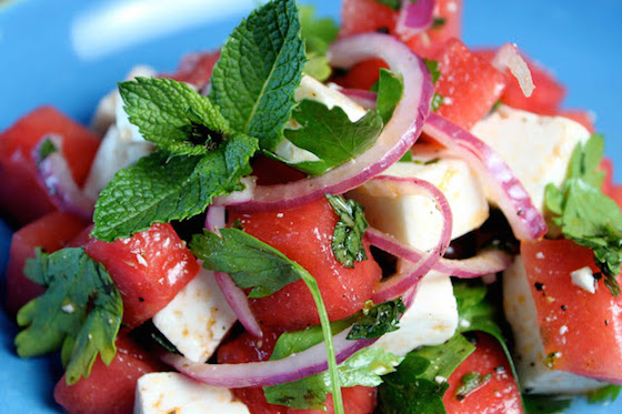 watermelon feta onion salad