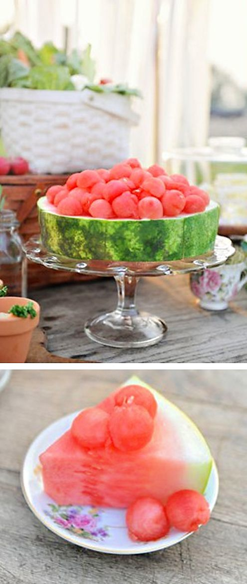 watermelon round on cake stand