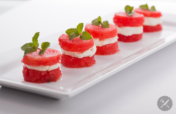 watermelon goat cheese stacks