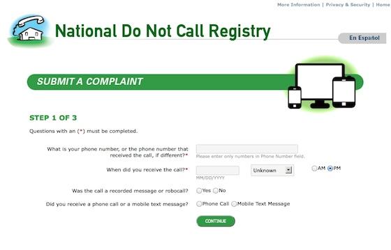 do not call complaint form
