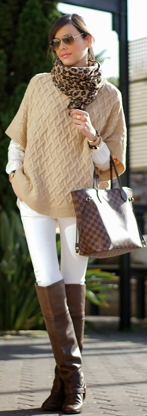 White Jeans with Animal Print Scarf