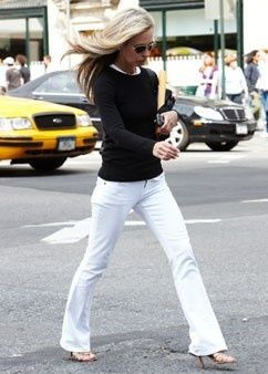 White Jeans with Black Sweater