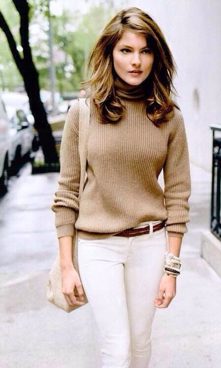 White Jeans with Camel Turtleneck