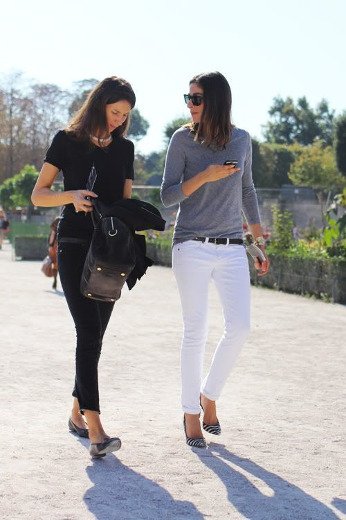 White Jeans with Gray