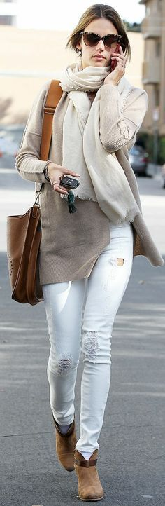 White Jeans with Taupe