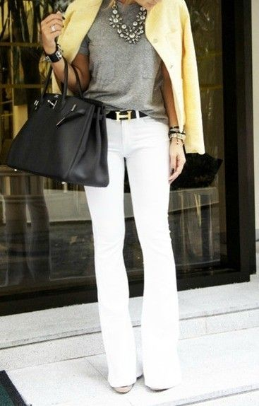 White Jeans with Yellow Jacket