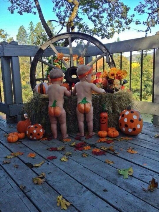 A collection of cute kids in Autumn scenes. - Adorable babies with Pumpkin bottoms