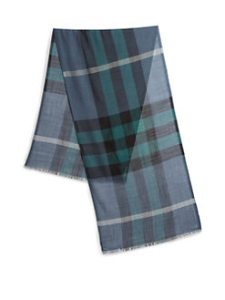 Men's Scarves - Blue and Black Plaid
