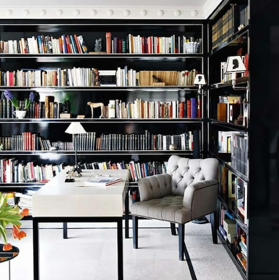 Home Office with Black Bookcases