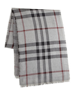 Men's Gray Plaid Scarf