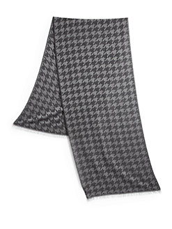 Men's Scarf - Gray Houndstooth