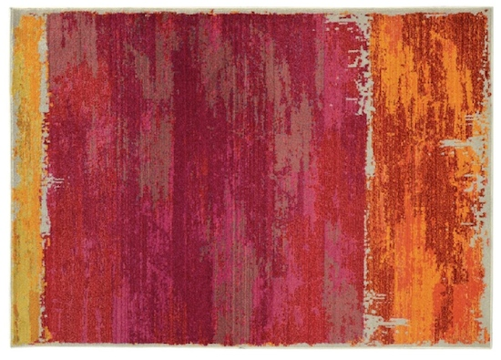 Pink and orange foyer area rug