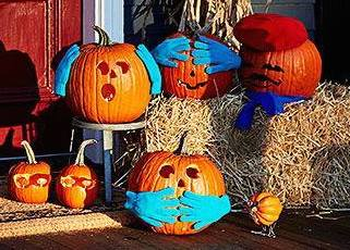 Pumpkins with gloves