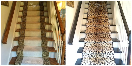 Before & After Stairs with Leopard Runner