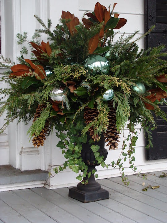 Christmas Urn with Magnolia Leaves and