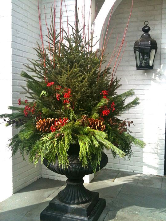 christmas urn with pine cones - Decorating Front Porch Urns For Christmas