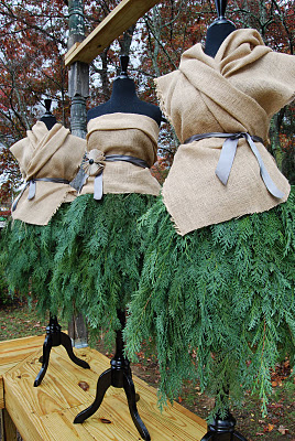 Evergreen and Burlap Dresses