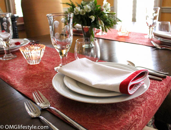 Use Pashminas as table runners instead of tablecloth or placemat. Just fold them in half lengthwise.