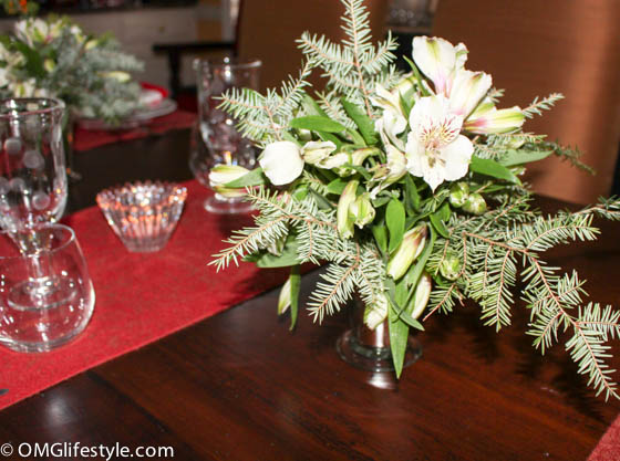 Add evergreen cuttings from your yard to your Holiday Centerpiece.