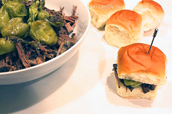 Pot Roast Sliders with Peperoncini Peppers & Hawaiin King's Buns