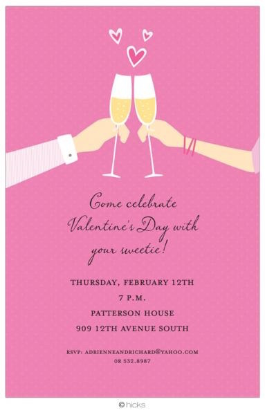 Champagne Glasses Valentine Invitation