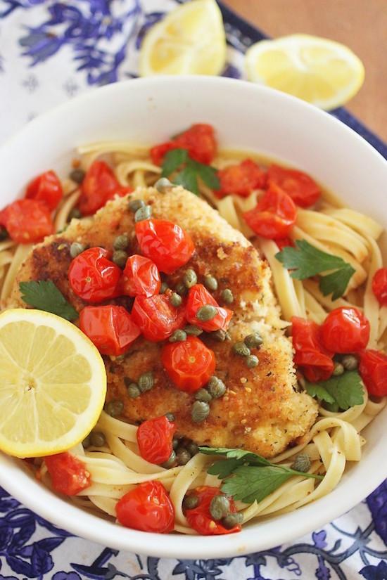 Crispy Chicken Scallopini withT omatoes over pasta