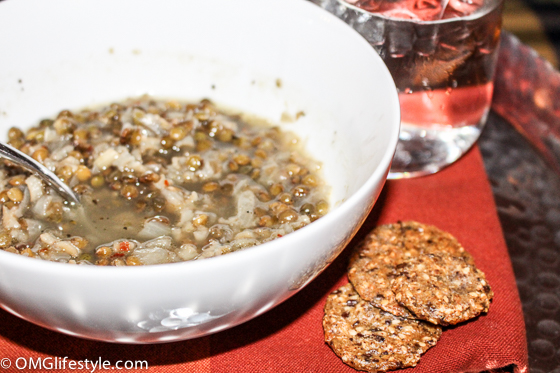 Lebanese Lentil and Rice Soup with Crackers