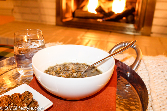 Lebanese Lentil Soup Dinner by the fireplace