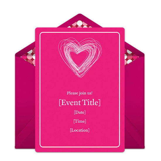 Punchbowl Bright Pink Valentine Party Invitation