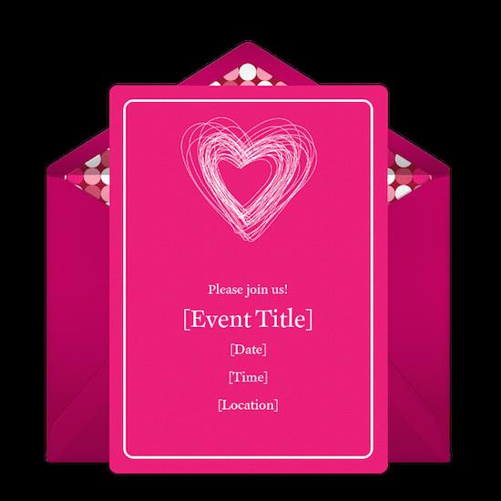 Punchbowl Bright Pink Valentine Party Invitation
