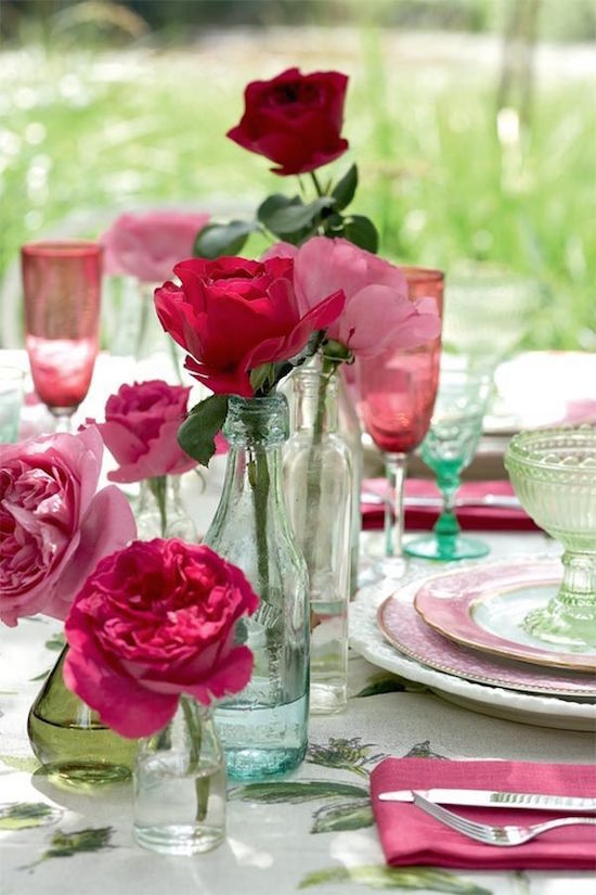 Single Roses in Bud Vases