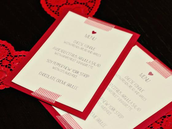 valentines dinner printable menu