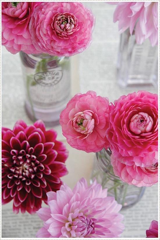 Arrange flowers in small vases