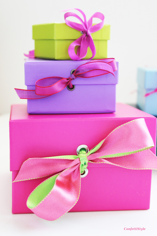 Colorful Gift Boxes with Ribbon